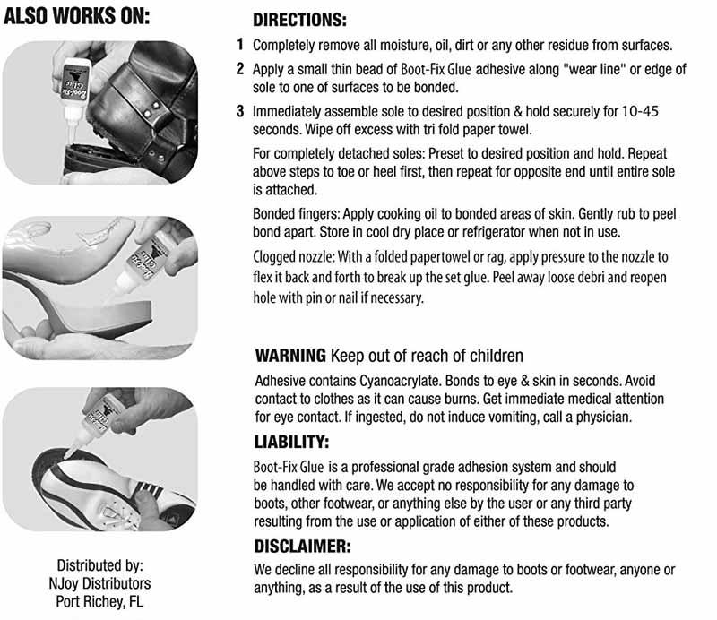 Boot-Fix Shoe Glue Directions