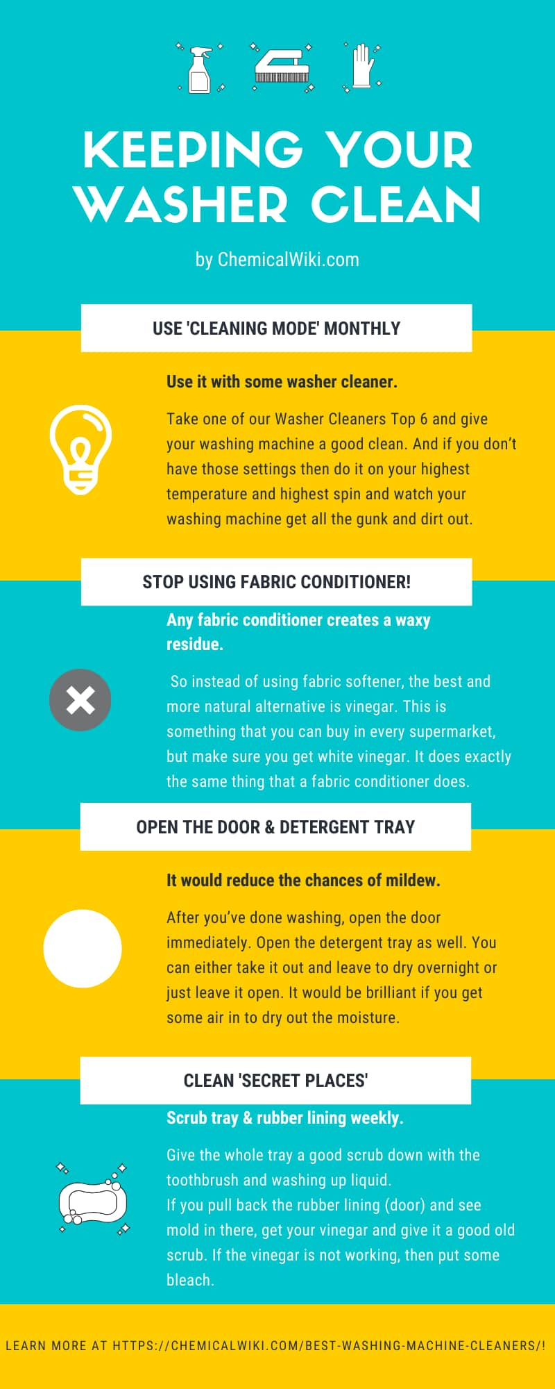 how to keep clean your washer infographic